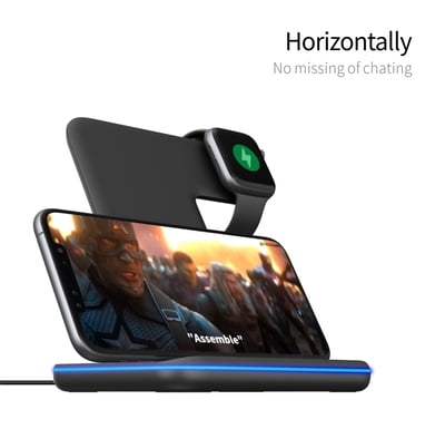 3 in 1 Premium wireless charging stand with LED Light for iPhone, AirPods and Apple Watch