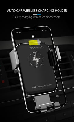 Fast wireless car charger for mobiles with sensor to open and close